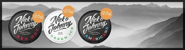 Save 20% on snus from Nick & Johnny!