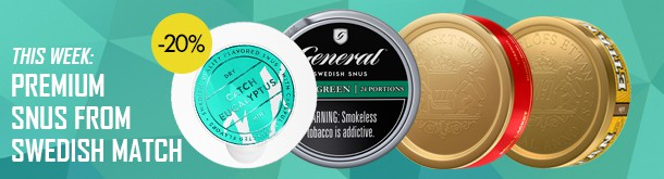 20% off on whole rolls of premium snus from Swedish Match!