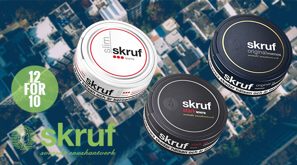 Two free extra cans of carefully selected Skruf snus!