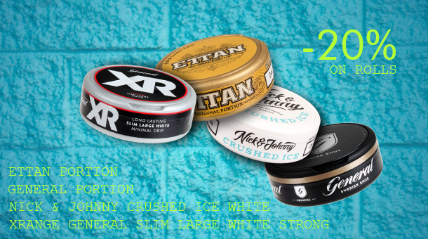 Selected Premium Snus from Swedish Match - 20% off on whole rolls!
