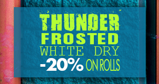 Only in March: rolls of Thunder Frosted White Dry at 20% off!