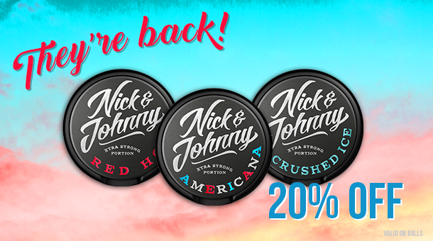 Rolls of NJ Red Hot, Americana and Crushed Ice at 20% this month!